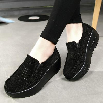 Genuine Leather Breathable Wedge Heel Low-Cut Thick-Sole Non-Slip Loafers