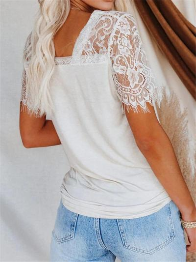Casual Style V Neck Floral Lace Short Sleeve T-Shirt