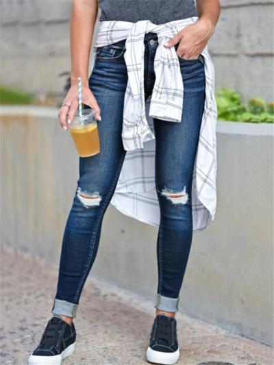 Slim Fit Mid-Rise Ripped Washed Pocket Skinny Denim Pants
