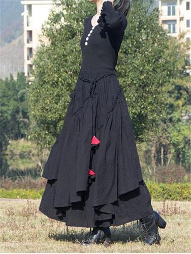 Stylish Linen Cotton Asymmetric Design Elastic Waist Flare Skirt