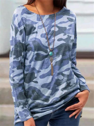 Relaxed Fit Round Neck Long Sleeve Leopard Pullover Tops