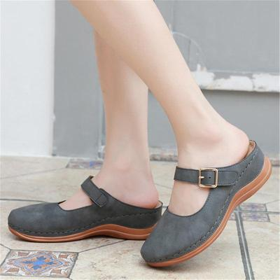 Retro Style Wedge Heel Closed-Toe Sandals Slippers