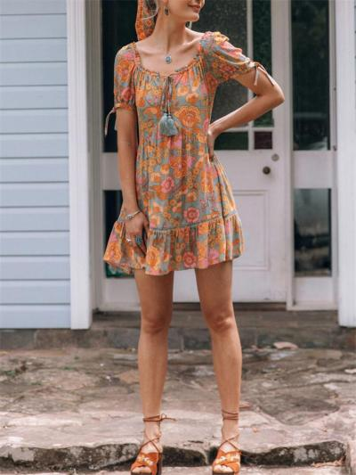 Casual Style Scoop Neck Floral Printed Short Sleeve Pleated Dress