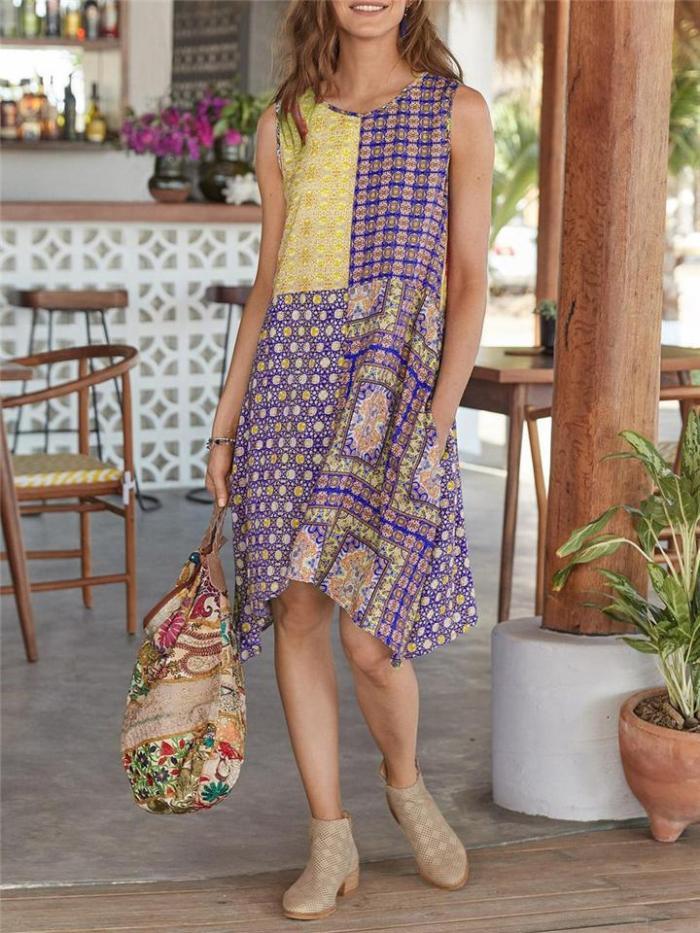 Bohemian Style Round Neck Pocket Sleeveless Midi Length Dress