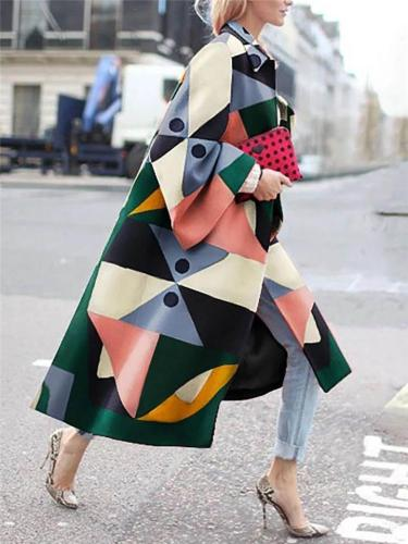 Personality Geometric Pattern Loose Long Trench Coat