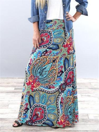 Bohemian Style Printed Long High-Waisted Skirt