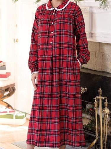 Classic Style Lapel Collar Plaid Pocket Maxi Nightgown Dress