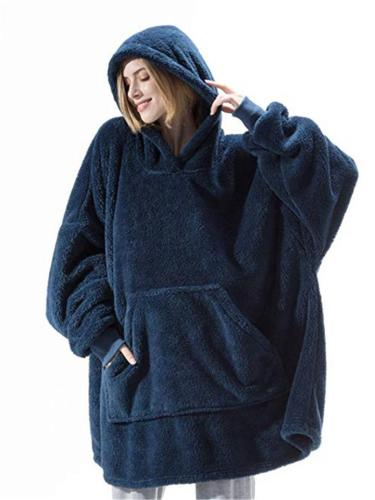 Extra Cozy Front Pocket Fur Blanket Hoodie for Women and Men