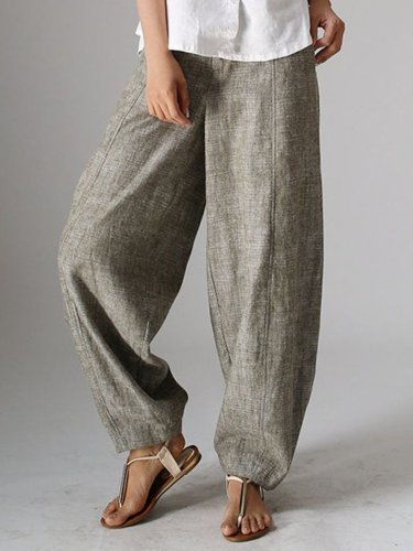 Natural Casual Plain Linen Pants