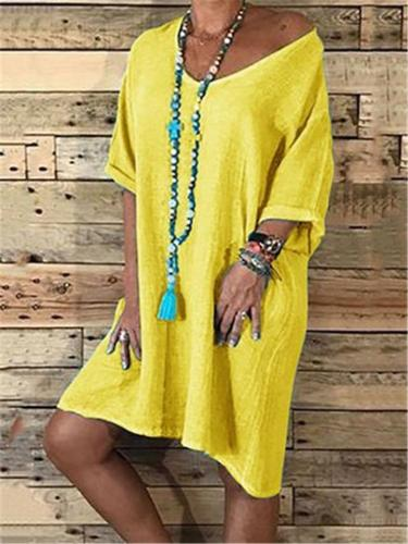 Oversized V Neck Solid Color Long Sleeve Cotton-Blend Basic Dress