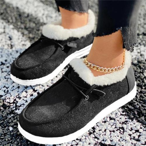 Cozy Warm Fur Lining Corduroy Non-Slip Flat Loafers