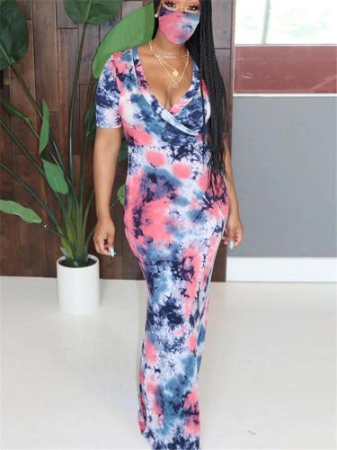 Stylish Wrap V Neck Tie-Dye Short Sleeve Waist Tie Maxi Dress
