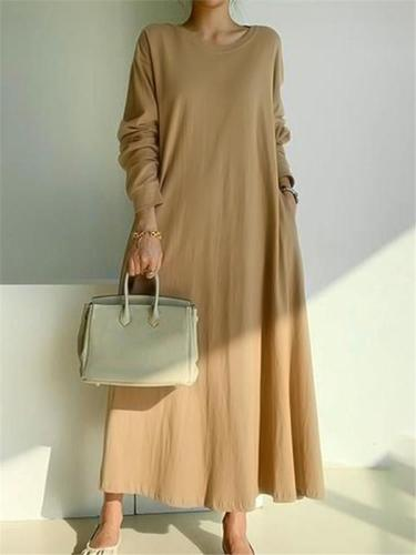 Loose Fit Round Neck Solid Color Long Sleeve Pocket Maxi Dress