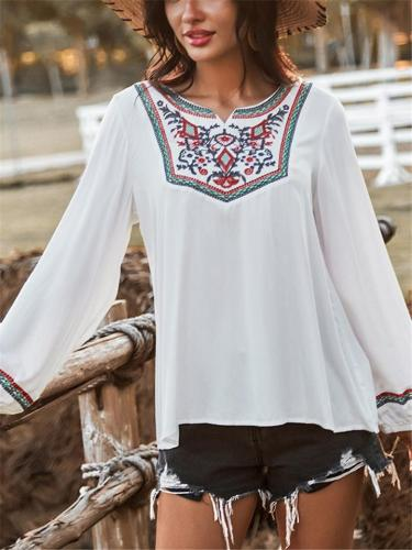 Relaxed Fit Floral Embroidery Elastic Cuff Long Sleeve Pullover Tops