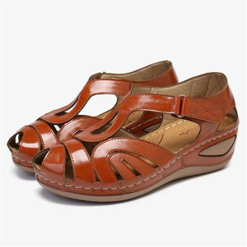 Lightweight Cutout Design Wedge Mid Heel Round Toe Non-Slip Sandals