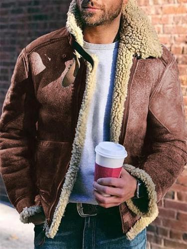 Extra Comfortable Front Zip Up Faux Fur Lapel Collar Coat