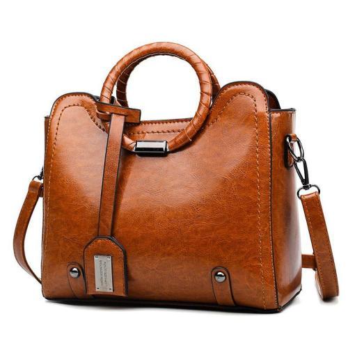 Trendy Elegant Large Capacity Leather Handbag