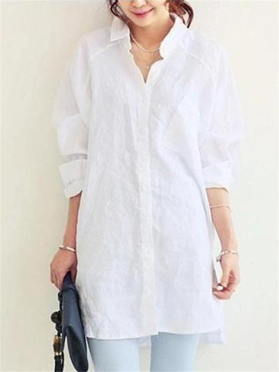 Oversized Lapel Collar Button Up Cotton Linen Long Sleeve Blouse