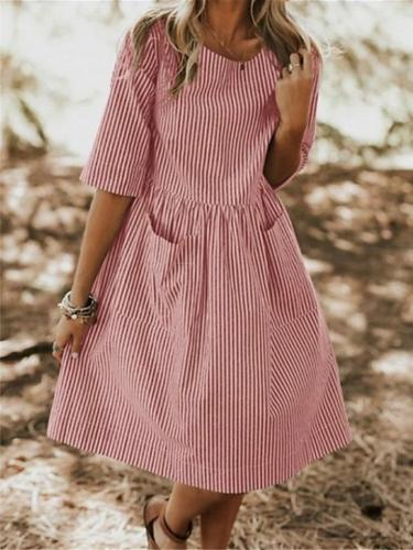 Short Sleeves Stripe O-neck Pockets Dress For Women