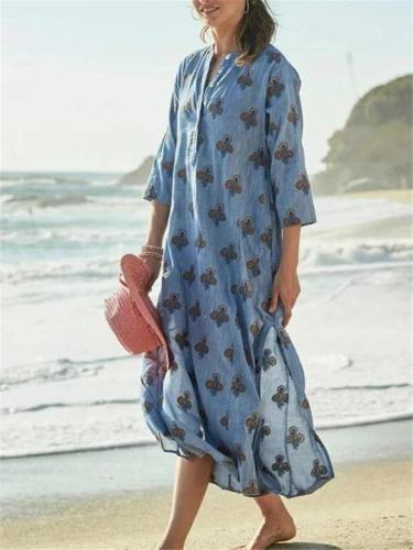 Casual Long Sleeve Floral Print Cotton Pullover Maxi Dress