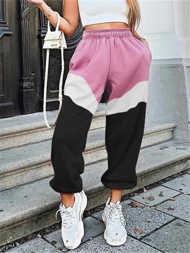 Casual Fit High-Rise Elastic Waist Contrasting Sweatpants
