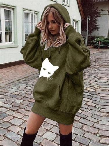 Cat Print Kangaroo Pocket Oversized Hooded Sweatshirts