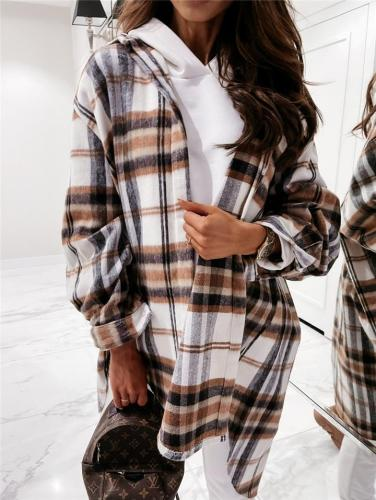Relaxed Fit Button Up Long Sleeve Plaid Midi Length Coat