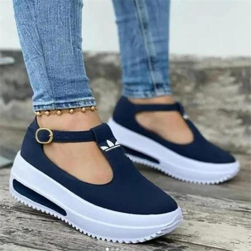Casual Style Thick-Sole Flat Heel Buckle Up Non-Slip Loafers