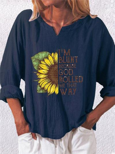Casual Notched V Neck Sunflower Printed Cotton Linen Pullover Tops
