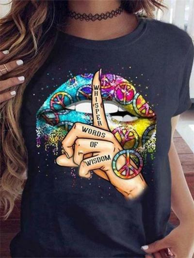 Relaxed Fit Round Neck Letter Cartoon Printed Short Sleeve Modal T-Shirt