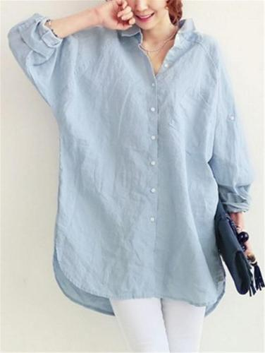 Oversized Lapel Collar Button Up Cotton Linen Long Sleeve Blouse