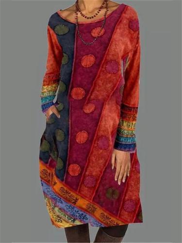 Vintage Style Scoop Neck Long Sleeve Multicolor Pocket Midi Dress