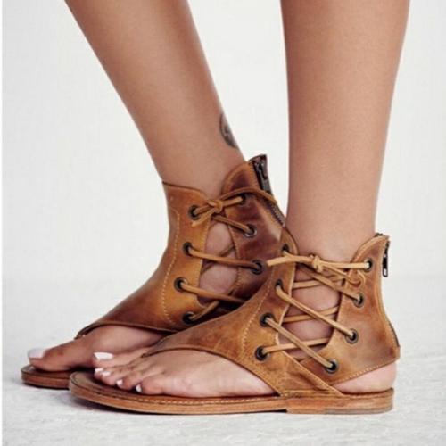 Lace-up PU Flip-flops Sandals For Women