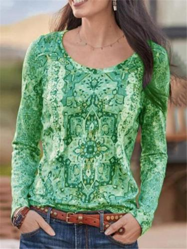Relaxed Fit Round Neck Floral Printed Long Sleeve Pullover Tops