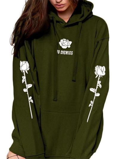 Loose Fit Floral Printed Long Sleeve Pullover Hooded Sweatshirt