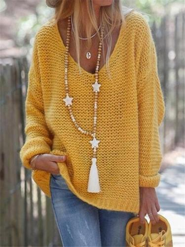 Oversized V Neckline Solid Color Cable Knit Sweater