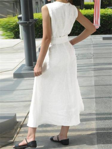 Casual Notched V Neck Sleeveless Front Slit Midi Cotton Linen Dress