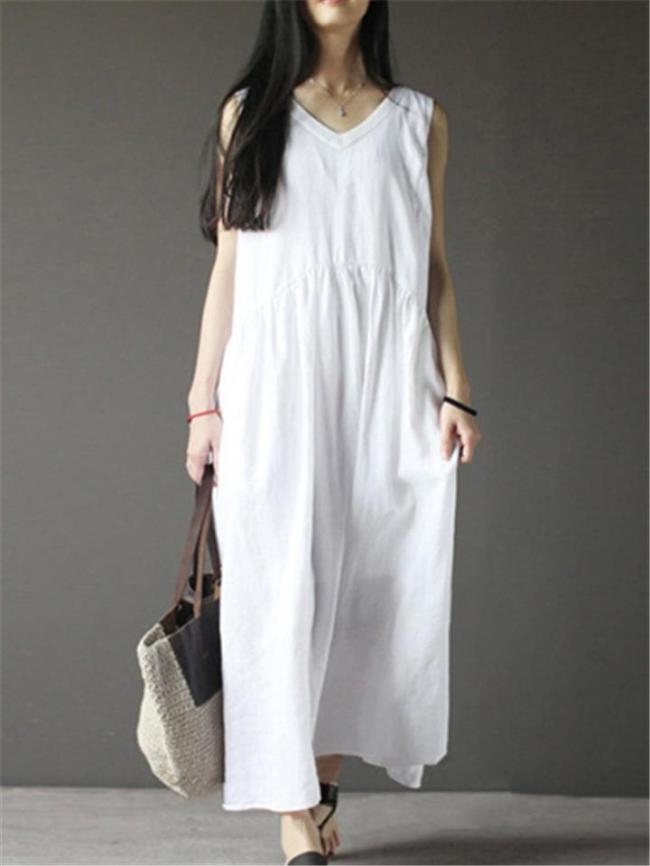 Loose Fit Solid Color V Neck Sleeveless Linen Flare Maxi Dress