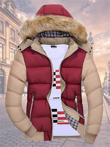 Men's Ultra-Warm Contrasting Padded Hooded Coat