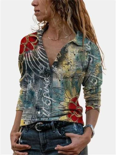 Casual Style Lapel Collar V Neck Floral Printed Long Sleeve Tops