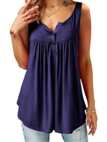 Casual Style Solid Color Button Up Pleated Pullover Tank Tops