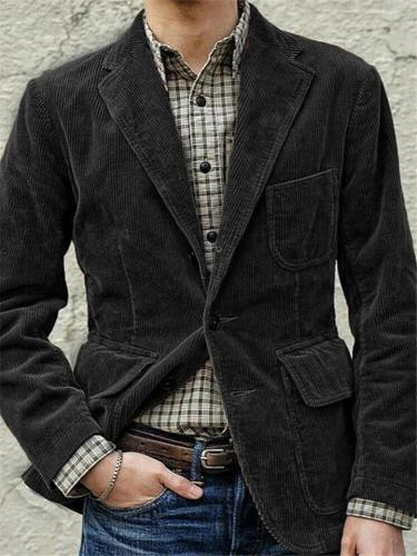 Gentleman Slim Fit Corduroy Jacket Lapel Casual Blazer
