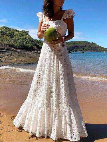 Bohemian Style Premium Quality Sleeveless Pleated Flare Maxi Dress