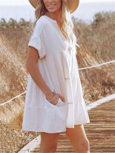 Minimalist Style V Neck Short Sleeve Pleated Pullover Mini Dress