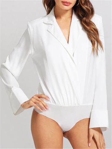 Women Long Sleeve Notch Neck Bodysuit Shirt Blouse Top