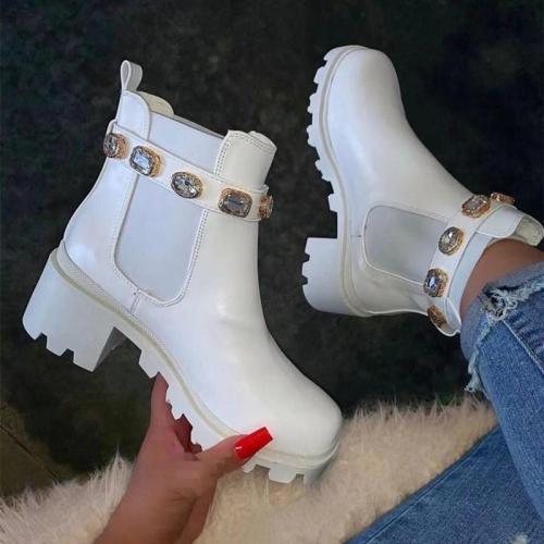 Stylish Rhinestone Deco Chunky Mid Heel Non-Slip Ankle Boots