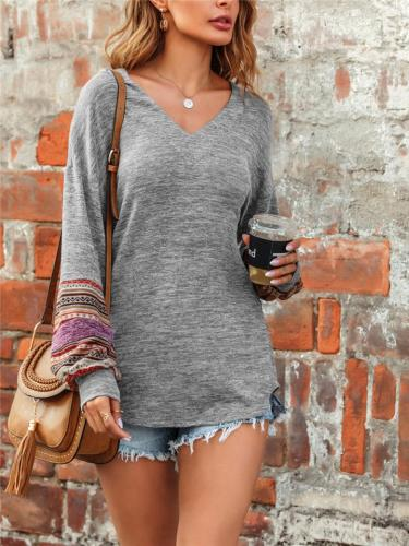 Casual Fit V Neck Printed Long Sleeve Pullover Knitted Tops