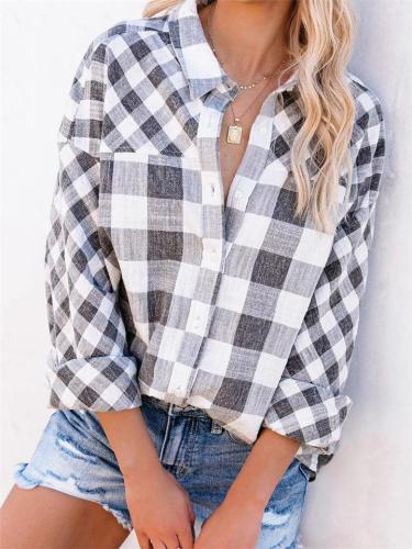 Classic Collar Checked Gray Front Button Fastening Straight Hem Blouse