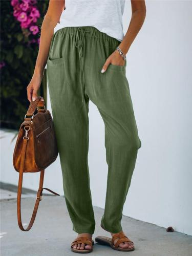 Tapered Fit Lightweight Elastic Waist Solid Color Drawstring Pants
