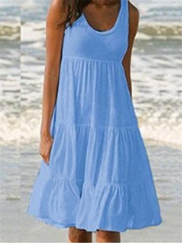 Casual Style Round Neck Sleeveless Flare Midi Length Dress